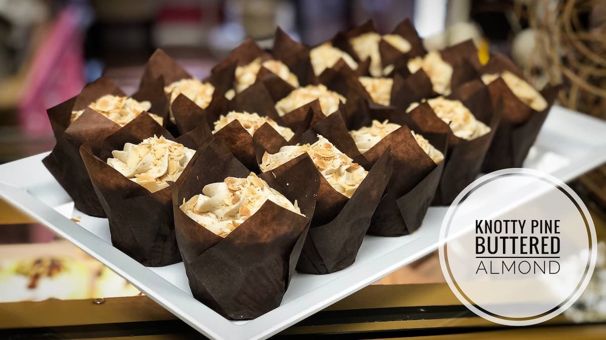 image of Knotty Pine Buttered Almond cupcakes